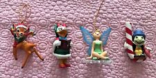 Disney Grolier set four ornaments Tinkerbelle, Jiminy Cricket, Bambi, Daisy Duck