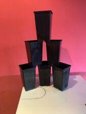 100 X 2 LITRE HEAVY DUTY DEEP BLACK SQUARE PLASTIC PLANT POTS - USED