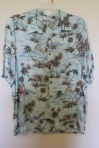 Preowned Batik Bay Hawaiian Shirt Sailboats Travel Tags Palm Trees Water etc
