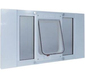 "Ideal Pet Products Aluminum Sash Window Pet Door, Large, 7.5"" x 10.5"" Flap Size,"