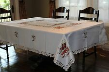 """72""""x 108"""" Embroidered ChristmasTablecloth Candles Bells Poinsettias Home Decor"""
