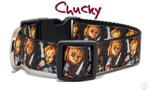 "Chucky dog collar handmade adjustable buckle collar 1"" or 5/8"" wide or leash"
