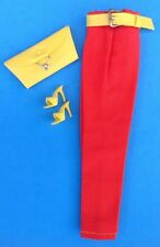 Vintage BARBIE RED PANTS/SLACKS w/Yellow Belt,Purse,Shoes 1962-1963 Fashion Pak