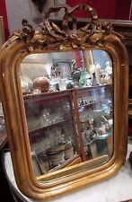 ancien petit miroir glace cadre bois doré epoque 19e fronton louis XV fleurs