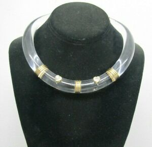 Clear Lucite with 14K Gold Accent Collar Necklace Choker Glass Hearts