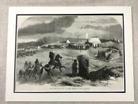 1855 The Siege Di Sebastopoli Crimea Guerra Francese Militare Camp Antico Stampa