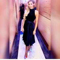 Ted Baker Cornela Blue Pleated Velvet Fit Flare Bow Midi Cruise Dress UK 12 40