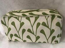 Clinique Makeup Bag Beige Green Floral Print Zip Around Pouch Case