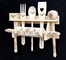 Set de cuisine 6 parties en bois avec gravure Ustensile Cuillère