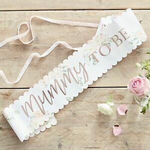 Baby in Bloom, Mummy To Be Sash, Rose Gold & Floral Baby Shower Sash /Photo Prop