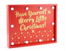 MERRY CHRISTMAS LED LIGHT UP SIGN PLAQUE WOODEN BATTERY OPERATED HANGING RED NEW