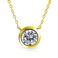 1 CT Solitaire Round CZ Bezel Pendant Necklace 14K Gold Plated Sterling Silver