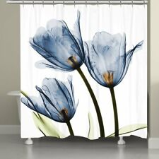 Blue Flower Fabric Waterproof Shower Curtain with 12 Hooks 72 x 72 inch