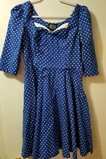Pinup Hearts and Roses Blue Dress w white polka dots, Cosplay, Sz US10/UK14/EU42