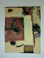 Susanne Günther Abstrakte Komposition mit roter Fläche Mischtechnik Collage