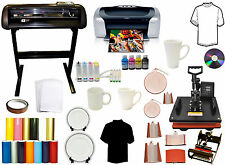 8 in 1 Combo Heat Press,Vinyl Cutter Plotter,Printer,CISS,Mug Ink,Paper Bundle