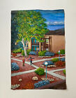 Original Painting Apartment Complex Architecture Kids Playing Vtg By Gallagher ?