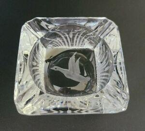 Hawkes Cut Glass Ashtray Duck Cattails