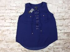 INC Top 0x Utility Tank Laced Front Sleeveless Blue Plus Size Womens New