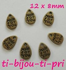 """LOT 10 PENDENTIFS perle breloques BRONZE """"MADE FOR YOU"""" 12 x 8mm CREATION BIJOUX"""