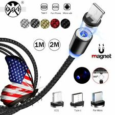 UGI 3in1 Magnetic Strong Braided Charging Cable Micro USB Type-C IOS Plug LOT US