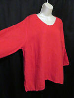 Match Point USA 100% Linen Top Red Lagenlook Boxy V-Neck Size L Large