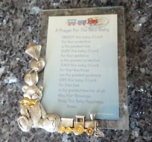 Baby Picture Frame with Teddy Bear Train Kite Pewter Stand New in Box