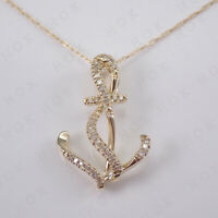 Round Cut 1.00 Ct Diamond Anchor pendant Necklace In 14k Yellow Gold Finish