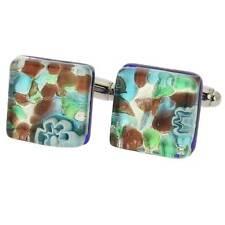 Square Cufflinks - Silver Meadow GlassOfVenice Murano Glass Venetian Classic