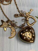 "Vintage Gold Tone Crystal  Heart Key Moon Heart Star Pendant Necklace 28"""