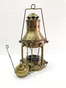 "Vintage Ship's Anchor Oil Lamp Lantern 10"" Fresnel Lens Nautical Home Decor New"