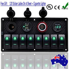 car and truck interior rocker switches for sale ebay8 gang green led rocker switch panel circuit breaker dual usb rv car marine boat