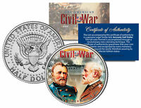 CIVIL WAR Generals ROBERT E. LEE & ULYSSES S. GRANT JFK Half Dollar US Coin