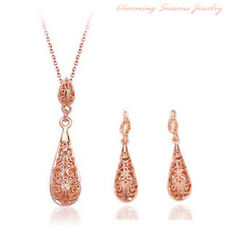18K Gold Plated Swarovski Element Crystals Earrings & Necklace Jewelry Set