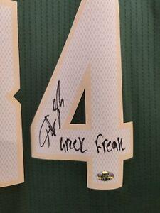 Giannis Antetokounmpo signed NBA Bucks Jersey, rare Greek Freak inscription