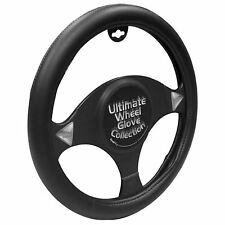 Steering Wheel Cover Black And White Stitching Leather Look - Brand New