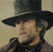 C. Eastwood, Sean Wu original oil painting 12x12 on stretched canvas