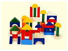 *NEW* PINTOY 50 Coloured Wooden Building Blocks - 50 Piece Set - Coordination