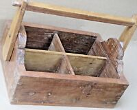 Distressed Solid Wood four storage Wine Caddy Holder Tote Basket crate carrier#3