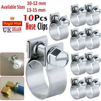 10 x STAINLESS STEEL HOSE CLIPS CLAMPS FUEL PIPE PETROL DIESEL WATER AIR LINE UK