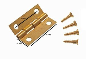 Mini Hinges For Jewelry Boxes + Pins Brass 25mm ( 2 Pairs )