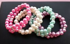 Two Rows Rhinestone Faux Pearl Elastic Pet Cat Puppy Small Dog Necklace Collar