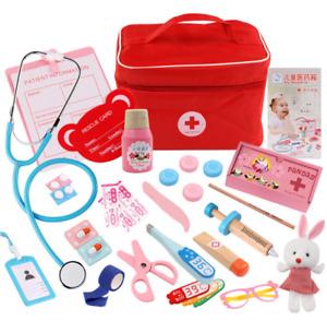 27 Stück Arztkoffer Kinder Holz Arzt Spielzeug Medizinisches Doktor Rollenspiele