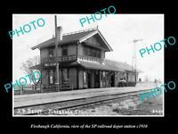 OLD LARGE HISTORIC PHOTO OF FIREBAUGH CALIFORNIA, RAILROAD DEPOT STATION c1910