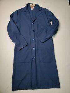 Red Kap Long Lab Work Coat Sz 40-R Unisex Doctors Jacket Navy Blue Button Up