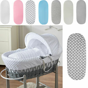 2 X Moses Basket Deluxe Jersey Fitted Sheets 100% Cotton 7 X Colours Pack Of 2!