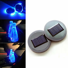 Pair Universal Solar Power LED Cup Holder Pad Blue Car SUV Atmosphere Light Mat