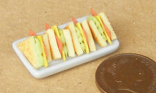 1:12 Scale 4 Sandwiches On Ceramic Plate Dolls House Kitchen Bread Accessory Br