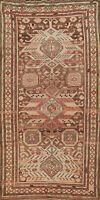 Antique Vegetable Dye Caucasian Russian Tribal Runner Rug Hand-knotted Wool 4x9