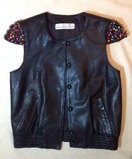Golden Goose Womens Black Leather Jeweled Sleeve Motorcycle Moto Jacket Size M